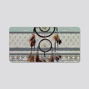 tribal pattern dream catche Aluminum License Plate