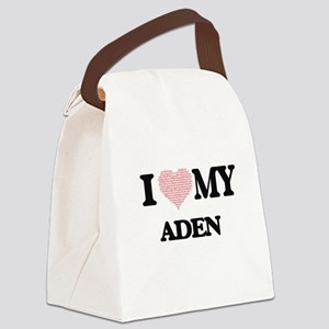 I Love my Aden (Heart Made from L Canvas Lunch Bag