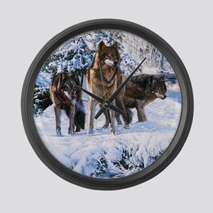 Pack Of Wolves Large Wall Clock