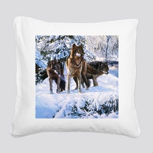 Pack Of Wolves Square Canvas Pillow