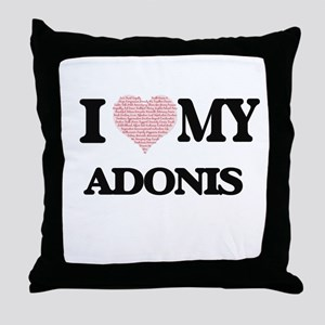 I Love my Adonis (Heart Made from Lov Throw Pillow