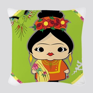 Frida Kahlo Woven Throw Pillow