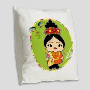 Frida Kahlo Burlap Throw Pillow