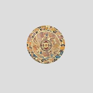 gold kimono chinese dragon Mini Button