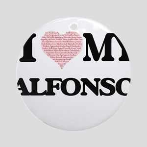 I Love my Alfonso (Heart Made from Round Ornament