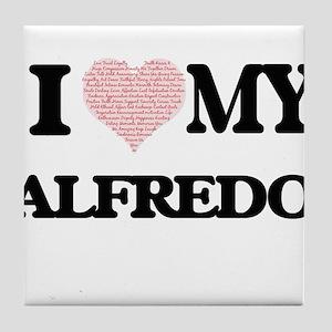 I Love my Alfredo (Heart Made from Lo Tile Coaster