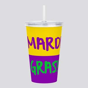 Mardi Gras purple gold Acrylic Double-wall Tumbler