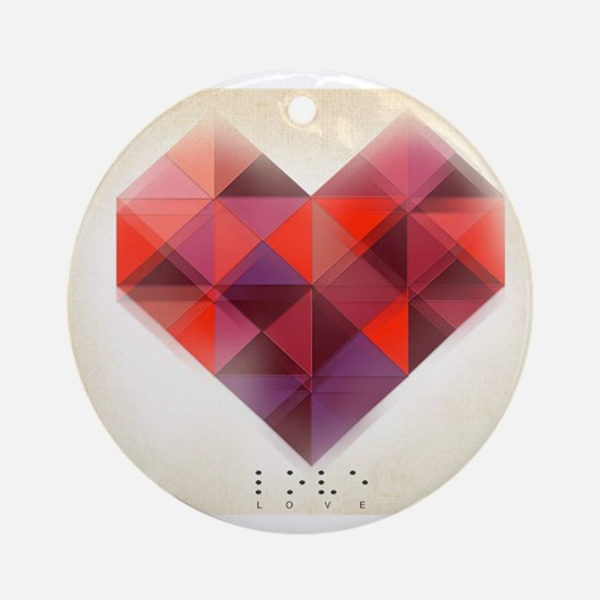 Hearts Braille Round Ornament