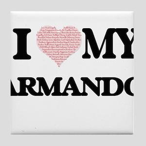 I Love my Armando (Heart Made from Lo Tile Coaster