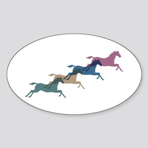 4 Horses Oval Sticker