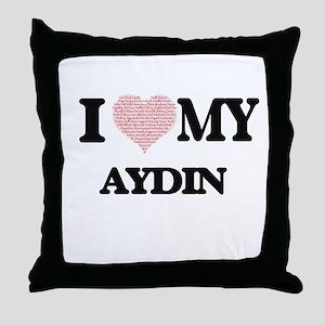 I Love my Aydin (Heart Made from Love Throw Pillow