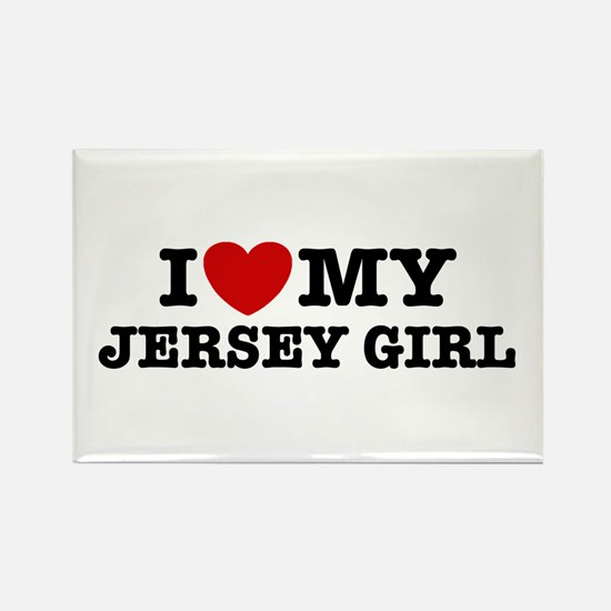 I Love My Jersey Girl Rectangle Magnet