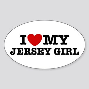I Love My Jersey Girl Oval Sticker