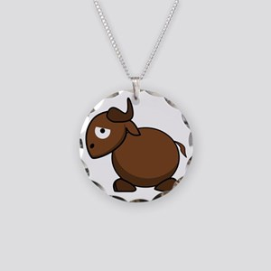 Cartoon Gnu Side Necklace Circle Charm