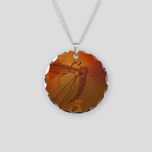 MOSQUITO IN AMBER Necklace Circle Charm
