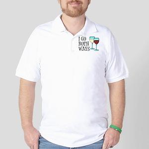 I Go Both Ways Wine Golf Shirt