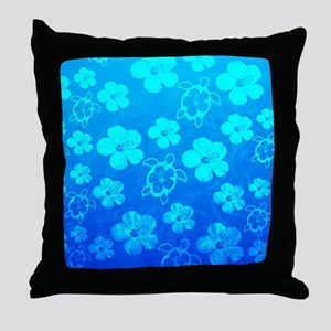 Blue Honu And Tropical Flowers Throw Pillow