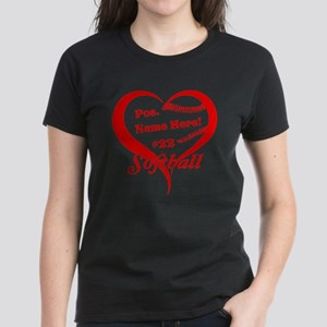 Baseball Heart Player Personalized Red T-Shirt