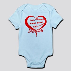 Baseball Heart Player Personalized Red Body Suit