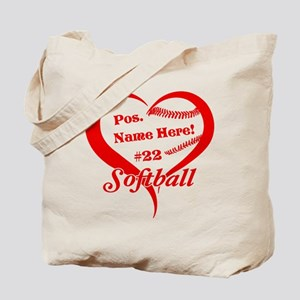 Baseball Heart Player Personalized Red Tote Bag