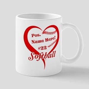 Baseball Heart Player Personalized Red Mugs