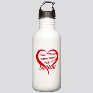 Baseball Heart Player Personalized Red Water Bottl