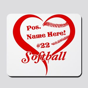 Baseball Heart Player Personalized Red Mousepad