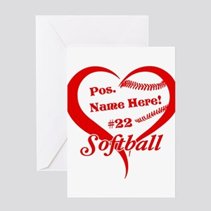 Baseball Heart Player Personalized Red Greeting Ca