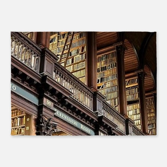 Classic Literary Library Books 5'x7'Area Rug