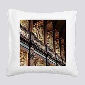 Classic Literary Library Book Square Canvas Pillow