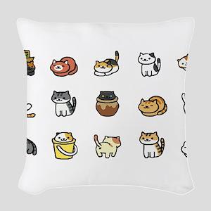 Neko Atsume Woven Throw Pillow