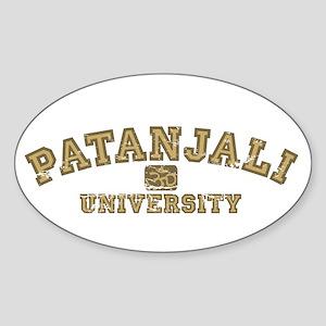 Yellow/Brown Patanjali University Oval Sticker