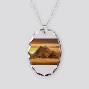 Egyptian pyramids Necklace Oval Charm