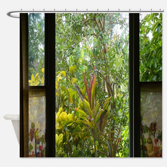 Garden Window Tropical Shower Curtain