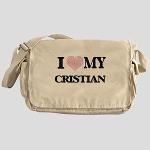 I Love my Cristian (Heart Made from Messenger Bag