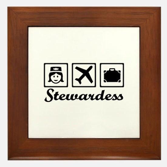 Stewardess airplane Framed Tile