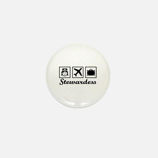 Stewardess airplane Mini Button
