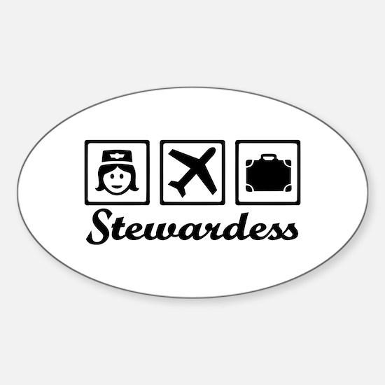 Stewardess airplane Sticker (Oval)