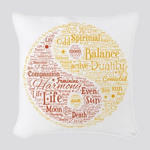 Yin Yang Spiritual Word Art Woven Throw Pillow