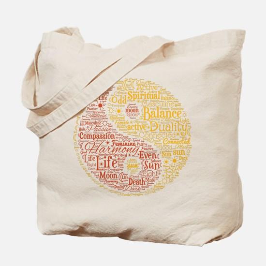 Yin Yang Spiritual Word Art Tote Bag