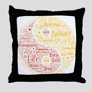Yin Yang Spiritual Word Art Throw Pillow