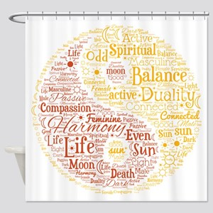 Yin Yang Spiritual Word Art Shower Curtain