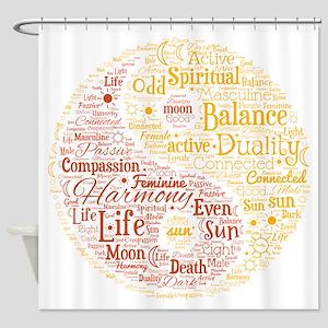 Yin Yang Spiritual Word Art Shower Curtain