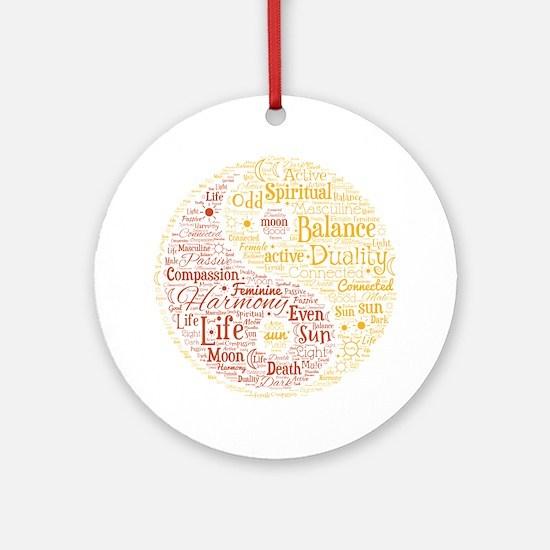 Yin Yang Spiritual Word Art Round Ornament