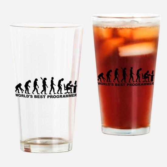 Evolution world's best Programmer Drinking Glass
