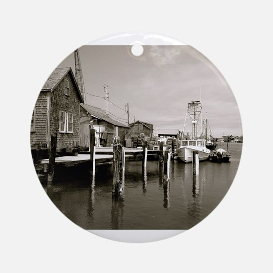 Menemsha Black & White Round Ornament