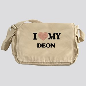 I Love my Deon (Heart Made from Love Messenger Bag