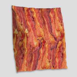 BACON Burlap Throw Pillow