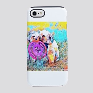 Frisbee Play with two dogs iPhone 8/7 Tough Case