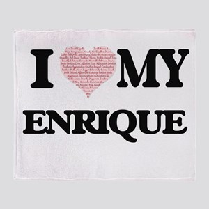 I Love my Enrique (Heart Made from L Throw Blanket